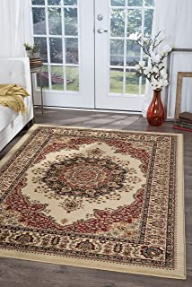 Fiona Traditional Oriental Ivory Rectangle Area Rug, 5' x 7'