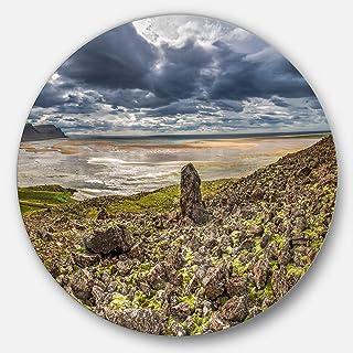 Designart Rocky Coastline Iceland Panorama Landscape Circle Wall Art - Disc of 23, 23X23-Disc of 23 inch