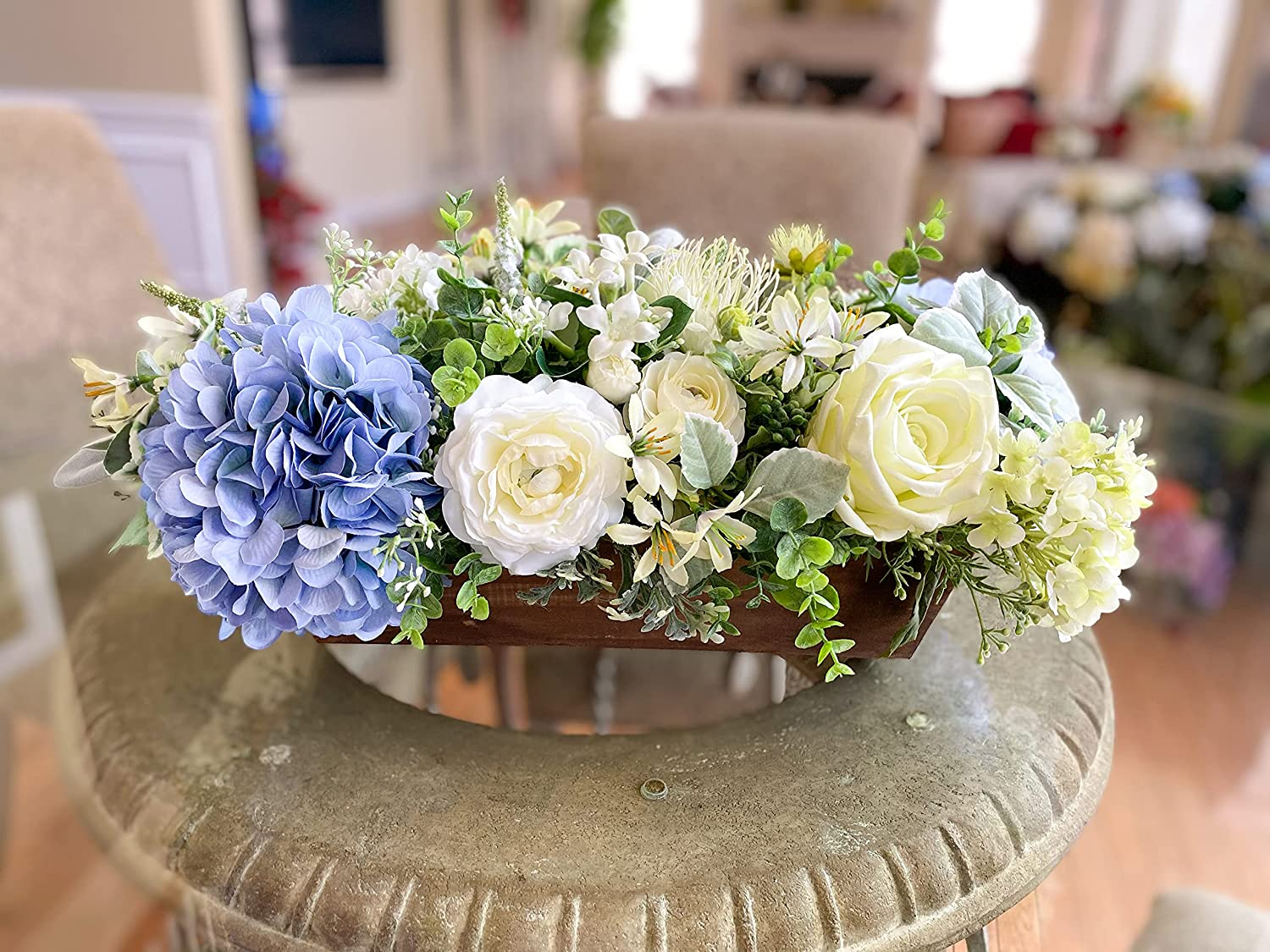 Blue and Ivory Color Over item handling New product type Silk Flower Hand in Wood Arrangement Made a
