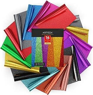 Arteza Vinilo textil termoadhesivo | 25,4x30,5 cm | Caja de 16 hojas flexibles | Vinilo térmico resistente, fácil de pelar y sin tóxicos | Apto para cualquier máquina de corte | Colores de purpurina