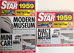 1959 BIRTHDAY GIFT SET - 1959 Chart Hits Compilation Music Cd with 20 Original Hit Songs & 1959 Documentary Best News Footage DVD 57 Minutes and Two 1959 Year Greeting Cards