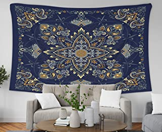 Pamime Wall Hanging Tapestry,Home Decor Tapestry Nament Paisley Bana Print Silk Neck Scarf Kerchief Square Pattern St Dorm Room Bedroom Living Room 60X50 Inches Bedspread Inhouse,Brown Turquoise