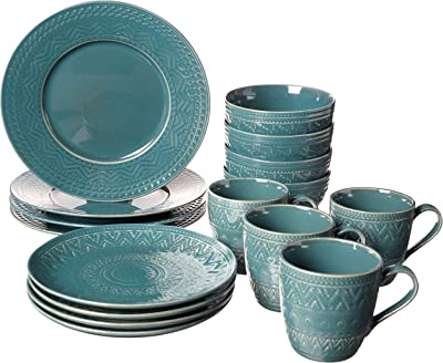 Certified International Aztec Teal 16 piece Dinnerware Set, Service for 4, Multicolored