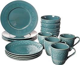 Certified International 89086 Aztec Teal 16 piece Dinnerware Set, Service for 4, Multicolored
