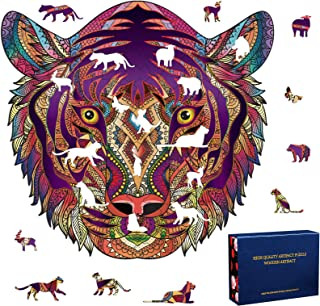 Brain Game 10x10 241pcs Medium Wooden Jigsaw Puzzles Attention Training Anass Unique Tiger Irregular Shape Wood Puzzle for Adults Teen