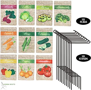 HIDDEN ROOTS - Miniature Garden Flags for Plant Labeling - 10 Pack Assortment of 3.5 x 5 inch Specially Designed Small Vegetable Identifiers - Double Sided - Premium Quality - Durable Materials (10)