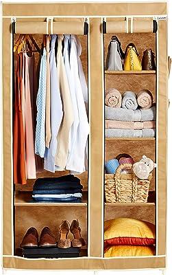 Amazon Brand - Solimo 2-Door Foldable Wardrobe, 6 Racks, Beige