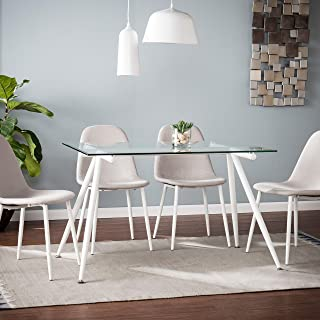 Contemporary Rectangular Dining Table Modern Rectangle Round Glass Iron Finish White