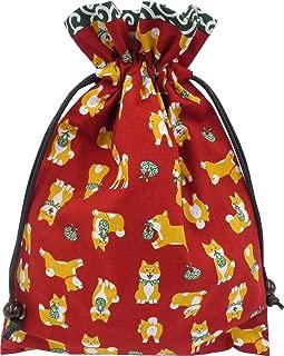巾着袋 裏地付き 和柄 赤 柴犬柄×唐草 ハンドメイド 日本製 御朱印帳袋 御朱印帳入れ 和小物 和雑貨 お年賀