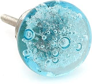 Aqua Blue Bubbles Glass Decorative Dresser Drawer, Kitchen Cabinet or Door Knob Pull