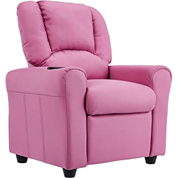 JC Home Kids Recliner with Cup Holder and Headrest, Hot Pink Vinyl