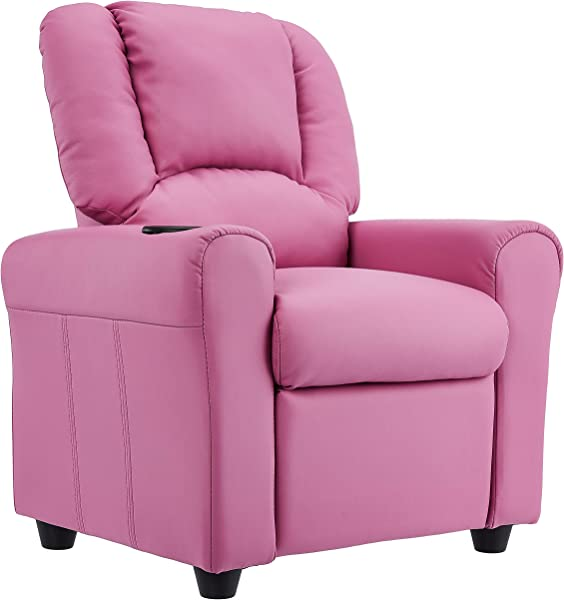 JC Home BT 70217A Kids Recliner With Cup Holder And Headrest Hot Pink Vinyl