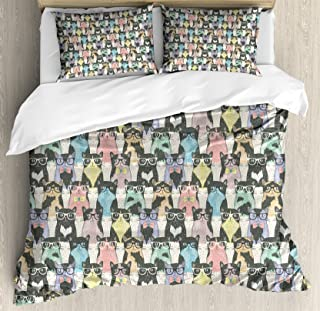 Ambesonne Cat Duvet Cover Set, Pattern with Hipster Playful Feline Characters with Glasses and Bowties Vintage Style, Decorative 3 Piece Bedding Set with 2 Pillow Shams, Queen Size, Dimgrey
