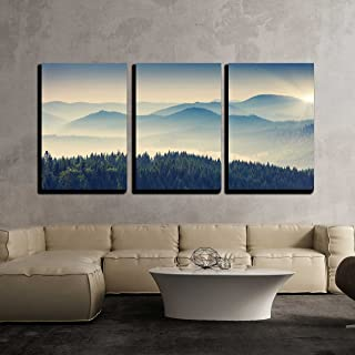 wall26 - 3 Piece Canvas Wall Art - Beautiful Sunny Day is in Mountain Landscape. Carpathian, Ukraine, Europe. - Modern Home Decor Stretched and Framed Ready to Hang - 24