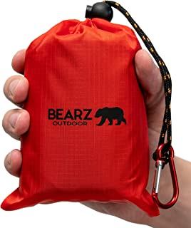 BEARZ Outdoor Beach Blanket, Waterproof Picnic Blanket 55″x60″ - Lightweight Camping Tarp, Compact Pocket Blanket, Festival Gear, Sand Proof Mat for Travel, Hiking, Sports - Packable w/Bag