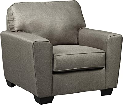 Benjara Fabric Upholstered Chair with Tapered Arms and T Backrest, Gray