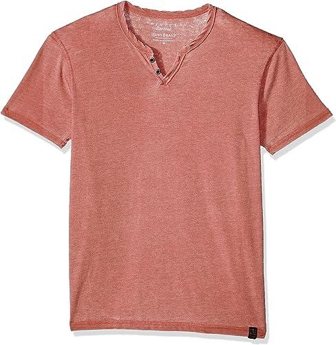 Lucky Brand Hommes's Venice Burnout Notch Neck TEE Shirt, Cowhide, M