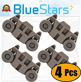 Ultra Durable W10195416 Dishwasher Wheel Lower Rack Replacement Part by Blue Stars - Exact Fit for Whirlpool Kenmore Dishwashers - Replaces AP5983730 PS11722152 W10195416V - PACK OF 4
