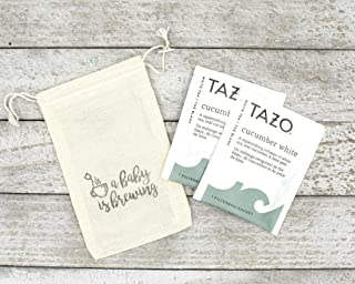 Baby Shower Favor Bags - A Baby is Brewing Teacup Design, Handmade Tea Gift Bags for Party or Shower