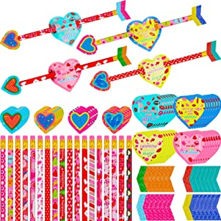 192 Pieces Valentines Day Cards with Cupid's Arrow Pencil Set, 48 Valentine's Day Wood Pencils and 144 Valentines Pencils ...