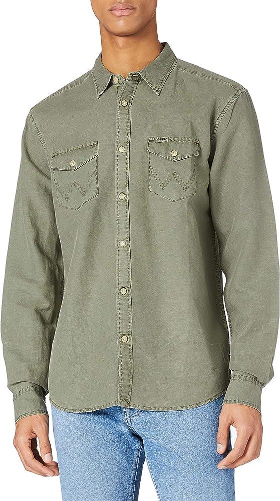 Wrangler pocket flap shirt camicia per uomo 100% cotone W5A5T2B20A