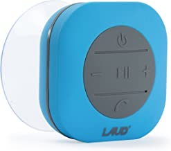 Laud Portable Bluetooth Shower Speaker - IPX4 Waterproof - Super Strong Suction Cup - Built in Mic for Hands Free Calling - 6-Hour Music Playtime - Water Resistant Rubber (Blue)
