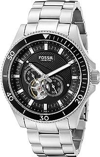 ساعة اوتوماتيكية ويكفيلد للرجال من فوسيل بمينا اسود وسوار ستانلس ستيل - ME3090