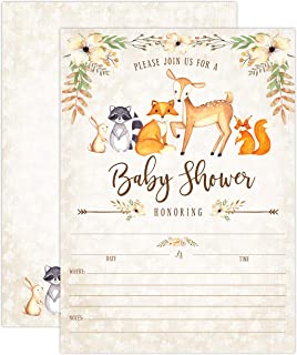 Woodland Baby Shower Invitations, Fox Baby Shower Invitations, Boy Baby Shower Invitations, Deer Baby Shower Invitations, Little Fox Invitations, 20 Fill in Invitations and Envelopes