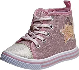 Laura Ashley Toddler Girls' Hi-Top Sneakers – Glitter Pink Casual Walking Shoes