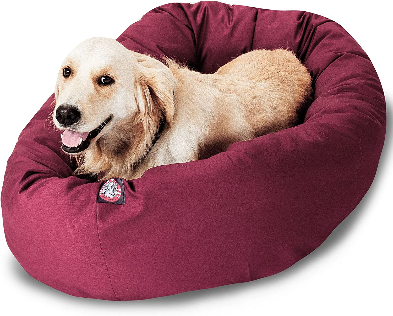 Majestic Pet 40Inch Bagel Bed for Pets, Burgundy