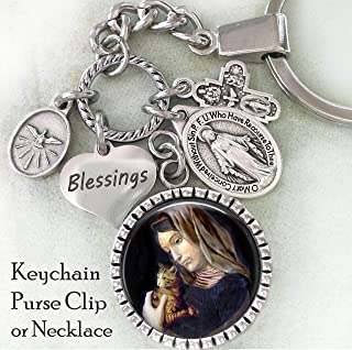 St. Gertrude of Nivelles Key Chain, Purse Clip, Backpack Clip or Necklace, Patron Saint of Cats and Cat Lovers, Vet, Veterinarian Gift