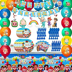 Cocomelon Party Supplies, Cocomelon Party Decoration Birthday Party Favors, Spoons, Fork, Knife, Plates, Table Covers, Banner, Napkins, Balloons, Hanging Decoration Birthday Party Set for Kids Boy