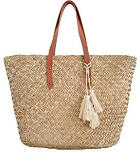 Straw Beach Tote Shoulder Bag Womens Large - Washable Lining Leather handle BEACH'D