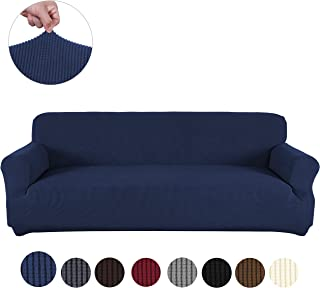 sancua Stretch Spandex Sofa Cover 3 Seat Couch Cover Anti-Slip Sofa Slipcover with Elastic Bottom for Living Room Furniture Protector Couch Slipcover for Dogs, Cats and Pets (Sofa, Navy)