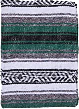 El Paso Designs Mexican Yoga Blanket Colorful 51in x 74in Studio Mexican Falsa Blanket Ideal for Yoga, Camping, Picnic, Beach Blanket, Bedding, Home Decor Soft Woven (Hunter Green)