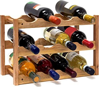 Relaxdays 10019279–Botellero pequeño 28x 42,5x 21cm Madera Estante con 3niveles para 12botellas de botellas de vino pequeño soporte para botellas de vino de nogal barnizada para waagerechten almacenar, natural