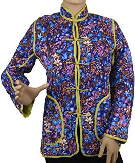 Silver Lake Women's Traditional Chinese Quilted Floral Jacket with Pockets Warm Cozy Sizes S,M New