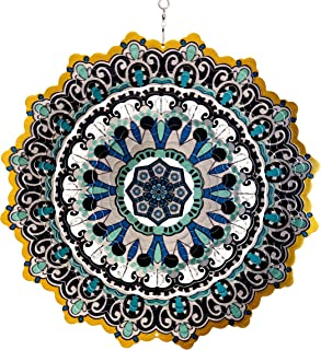 "Exhart 3D Mandala Wind Spinner – Laser Cut Metal Mandala Art Hanging Décor w/Crystal Accent Beads– Blue Mandala Hanging Wind Spinner, 3D Metal Art, Indoor/Outdoor Decor, 12"""