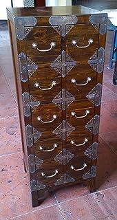 Antik Armoire de bureau Pharmacie Commode Armoire Buffet avec 10 tiroirs largeur 40 cm