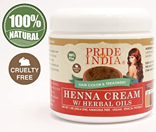 Pride Of India - Red Henna Hair Color Cream w/Herbal Oils (Pre-made Paste - Ready to use), One Pound (16oz) Jar - 100% Natural (No Chemicals/Dyes) - BUY ONE GET 50% OFF 2ND UNIT (IN MULTIPLES OF 2)