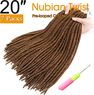 20 Inch 7 Packs Nubian Twist Crochet Braids Faux Locs Crochet Hair Long Spring Twist Hair Ombre Havana Twist Synthetic Braiding Hair (20 inch, 27G)