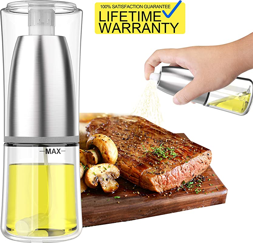 Updated 2019 Version Olive Oil Sprayer Dispenser Mister Bottle For Cooking BBQ And Air Fryer Premium Glass Oil Vinegar Soy Sauce Spray For Grilling Kitchen Salad Bread Baking Frying
