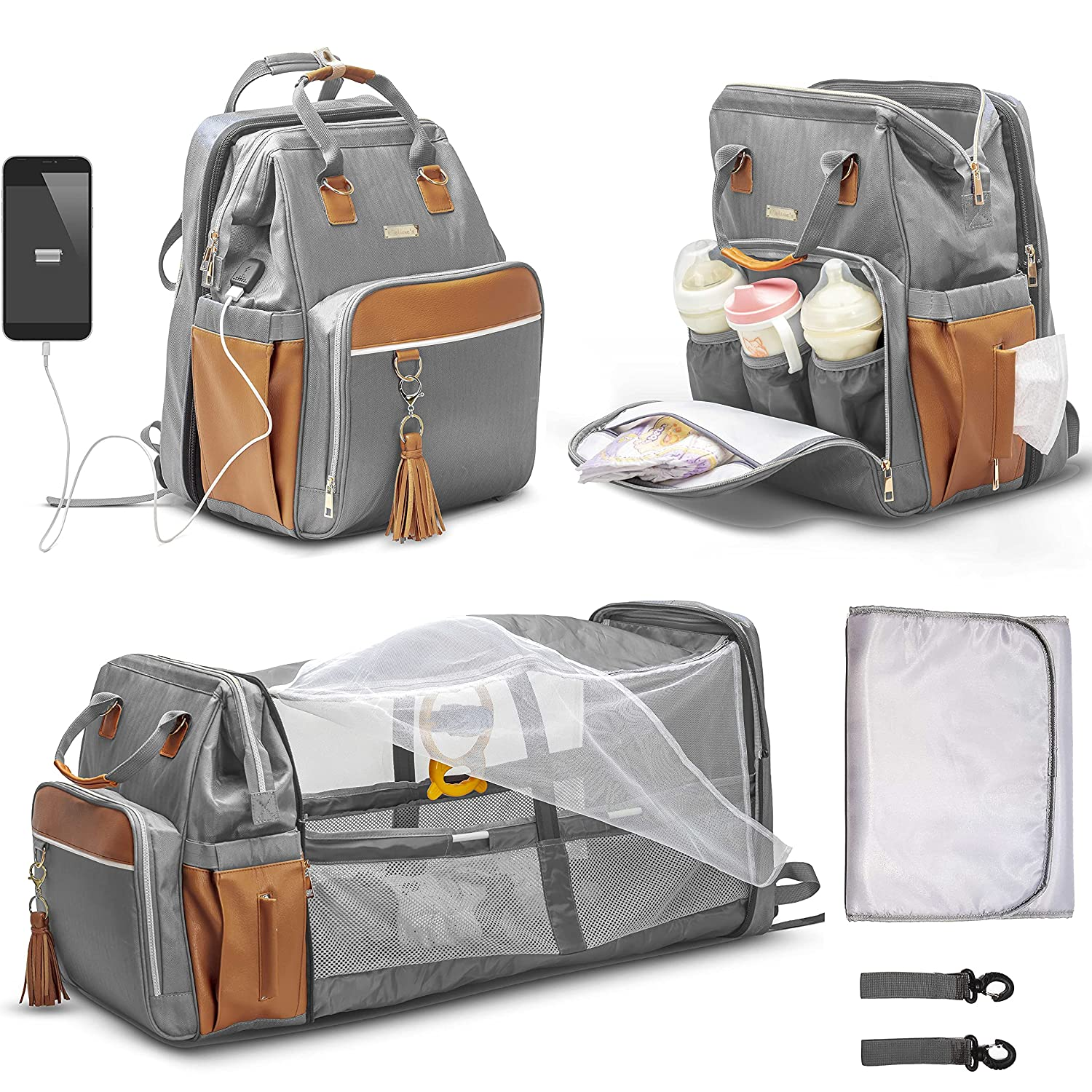 Celine's Diaper Bag Stylish Premium Quality Waterproof Baby Bag 6 in 1 Multifunctional Baby Backpack; Folding Bassinet Crib, Mosquito Net, Changing Pad,Insulated Pockets,USB Port,Diaper Pocket,(Grey)