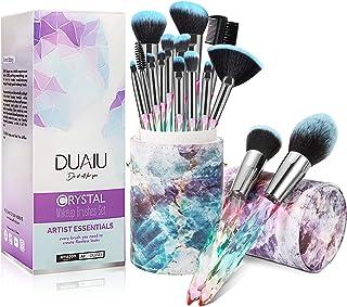 برس های آرایشی DUAIU 15pcs Premium Synthetic Bristles Crystal Handle Set Brush Kabuki Foundation Brush Face Lip Makeup Eye Makeup Brush Sets Professional with Starry Gift Box