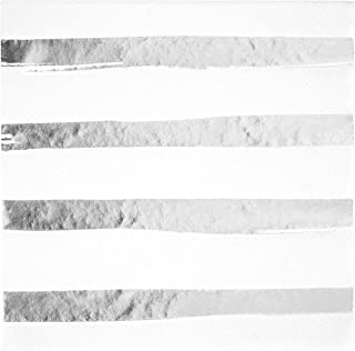 Creative Converting White & Silver Foil Stamp Luncheon Napkins, Multicolor