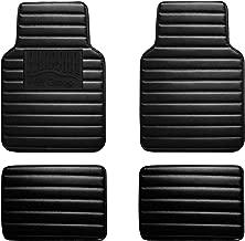 FH Group F12001BLACK Black Luxury Universal All-Season Heavy-Duty Faux Leather Car Floor Mats Stripe Design w. High Tech 3-D Anti-Skid/Slip Backing