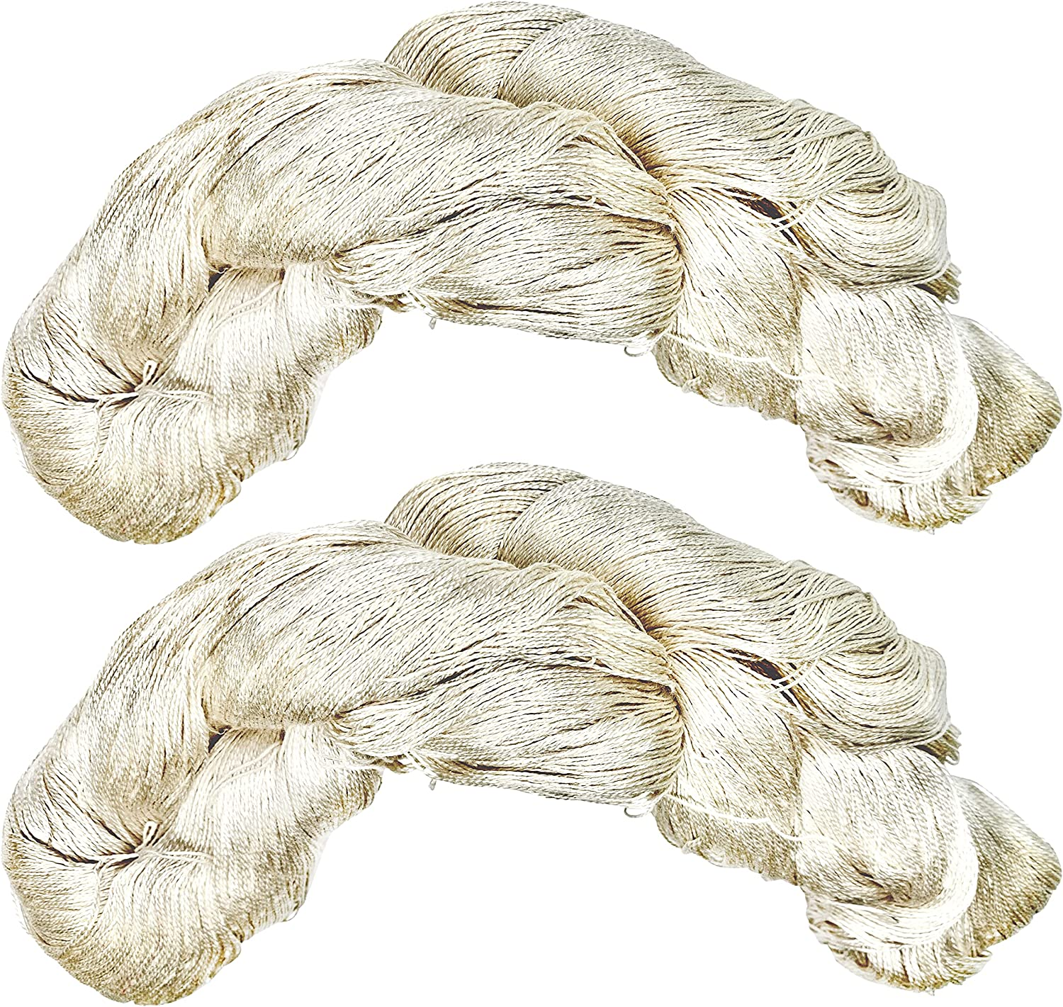 Revolution Fibers Mulberry Silk Lace Yarn, 100% Pure Off-White (Undyed) Lace Weight Skein Silk 20/2, Can Be Dyed, 100 Grams - 1000 Yards per Hank, Weaving, Crafting, Crochet, Knitting (1-Pack)