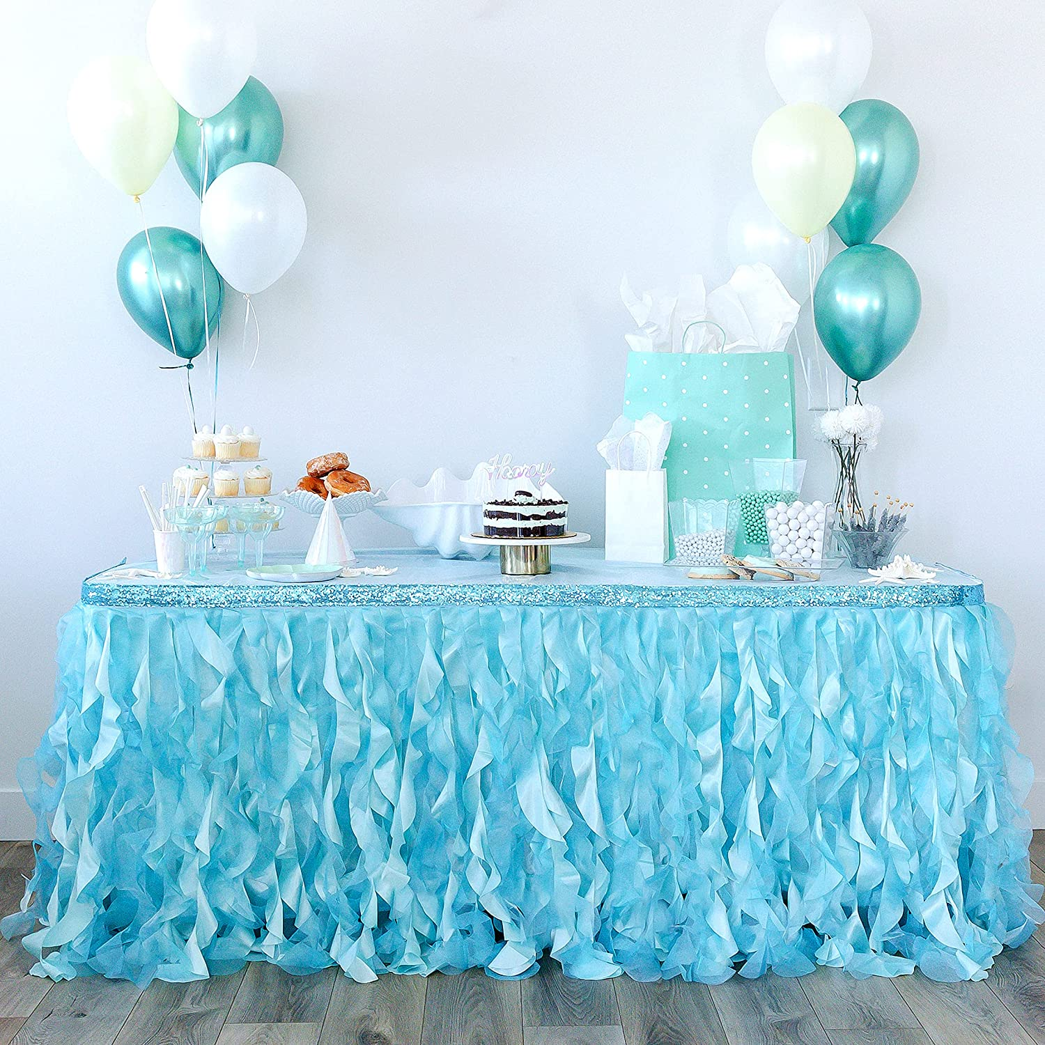 Bluekate Mint Green Table Skirt 9ft. Max 81% OFF Double Two Pa Trims Reservation Organza