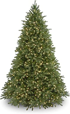 National Tree Company 'Feel Real' Pre-lit Artificial Christmas Tree | Includes Pre-strung White Lights and Stand | Jersey Fraser Fir - 7.5 ft