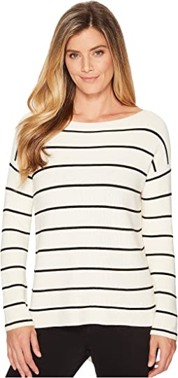 TWO by Vince Camuto - Striped Asymmetrical Rib Sweater
